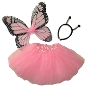 Light Pink Butterfly Wing Skirt 3pc Set